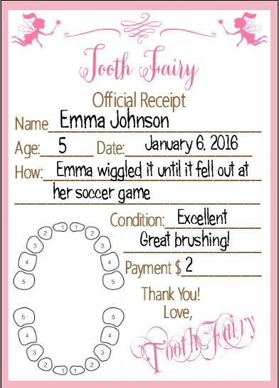 Imagine your child receiving a tiny receipt from the Tooth Fairy! Their eyes would sparkle with surprise and delight!  These pink receipts are