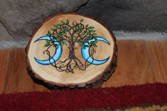 Triple Moon Goddess Tree of Life Symbol Talisman  by FairyFresh