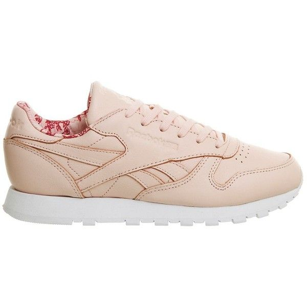 Classic Leather Trainers by Reebok (£65) ❤ liked on Polyvore featuring shoes, sneakers, pink, reebok, retro shoes, real leather shoes, leather shoes and retro sneakers