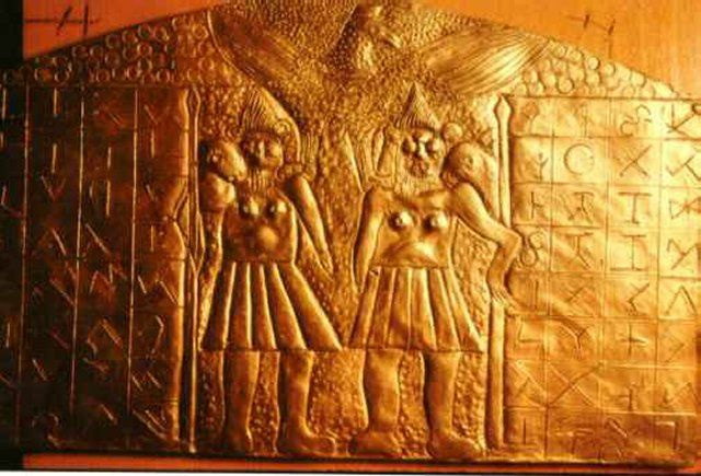 Father Crespi Gold Library Collection. Cuenca, Ecuador. Unknown hieroglyphic writing on the plate. J Golden Barton