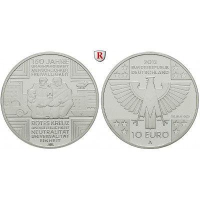 Bundesrepublik Deutschland, 10 Euro 2013, 150 Jahre Rotes Kreuz, A, PP: 10 Euro 2013 A. 150 Jahre Rotes Kreuz. Polierte Platte 28,00… #coins