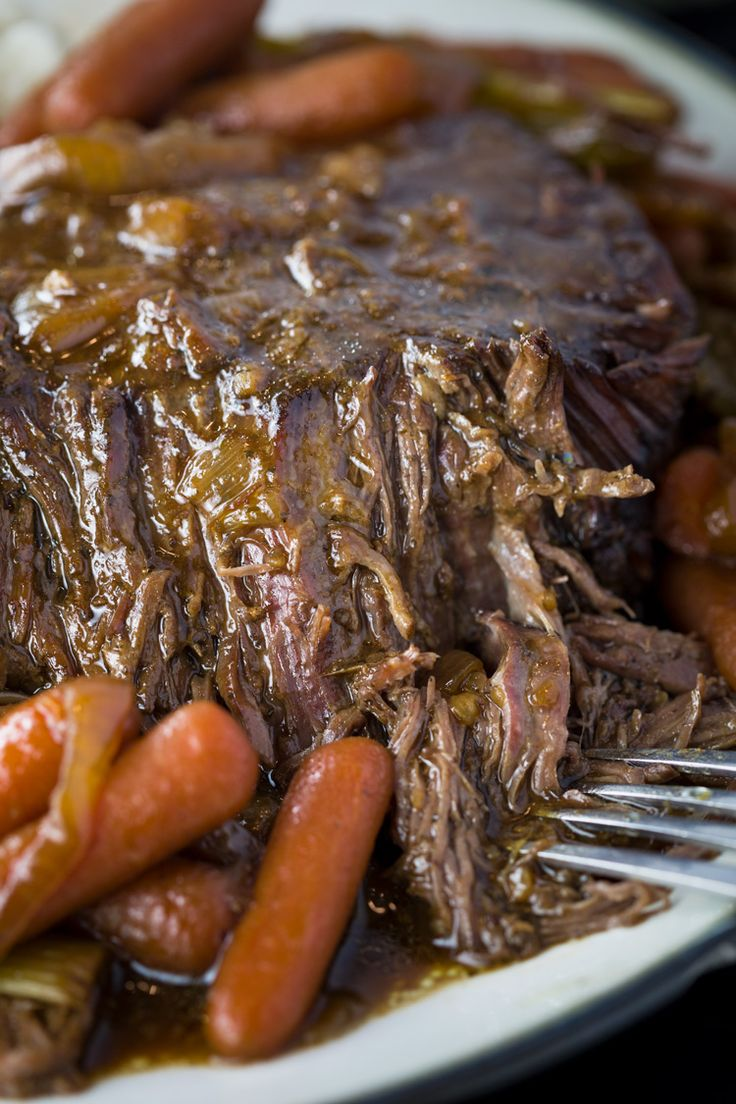 Tender beef slowly simmers in your crock pot with just 4 other ingredients to cr…   – ding ding dinner time