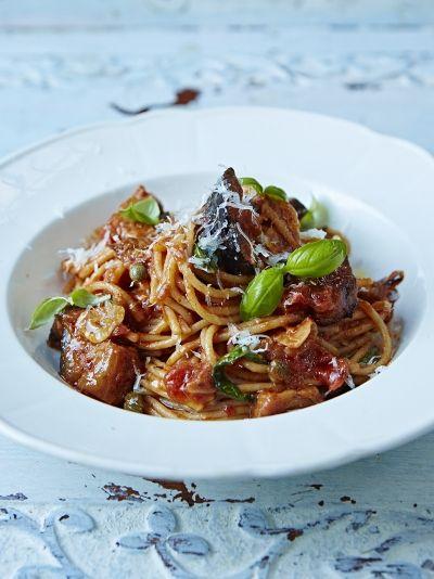 Sicilian spaghetti alla Norma | Jamie Oliver - Whole wheat spaghetti // Aubergines