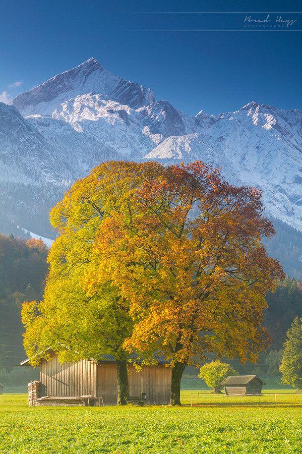 Fresh snow on the Alpspitze, Garmisch-Partenkirchen, Bavaria, Germany; photo by Brad Hays