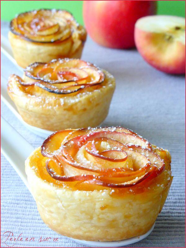 Roses feuilletées aux pommes (garniture confiture, chocolat, caramel, compote...)