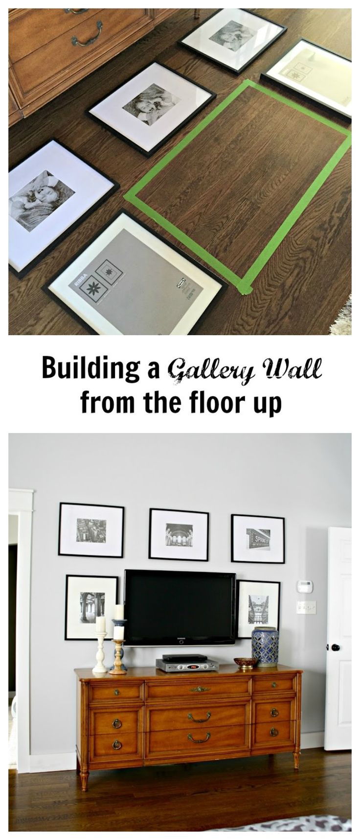 My simple tip on how to Build a Gallery Wall. Now my Master Bedroom wall is finished!