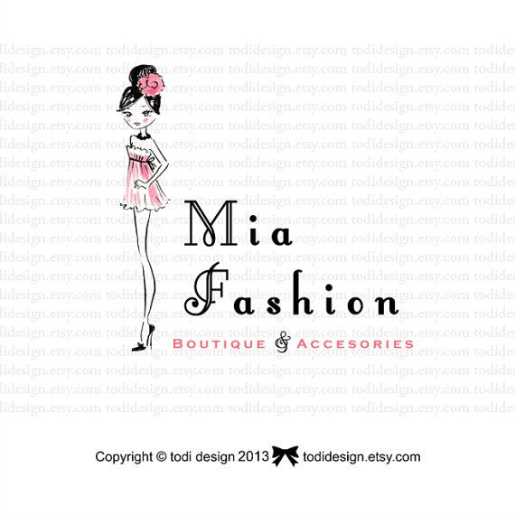 Mia Fashion OOAK Character Illustrated Premade Logo by