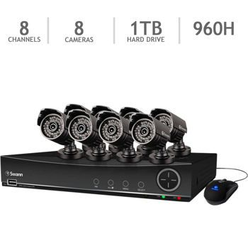 Swann™ 8-channel 960H DVR with 1 TB HDD and 8 720TVL Bullet Cameras