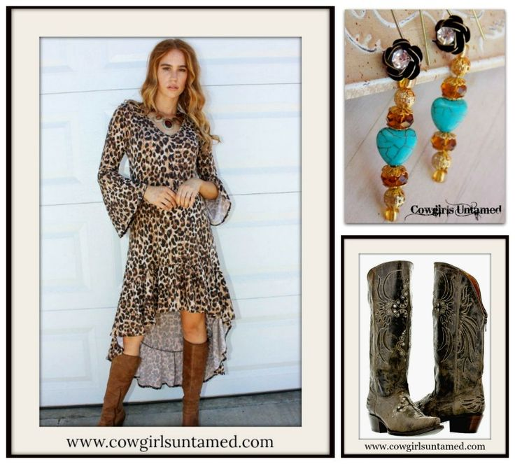 RODEO FOX DRESS High Low Ruffle Bell Sleeve Brown Tan Black Leopard Maxi Dress PLUS SIZE  #maxidress #leopard #animalprint #brown #Black #Dress #bohochic #rodeo #NFR #fashion #bellsleeve #highlow #ruffle #boots #cross #cowgirlboots #cowgirl #western #earrings #turquoise #amber #antiquebronze #heart #boutique #shopping