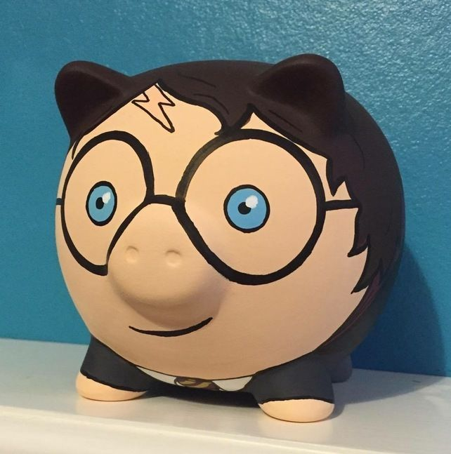 Harry Potter inspired Hogwarts Hand painted piggy bank money box £12.99