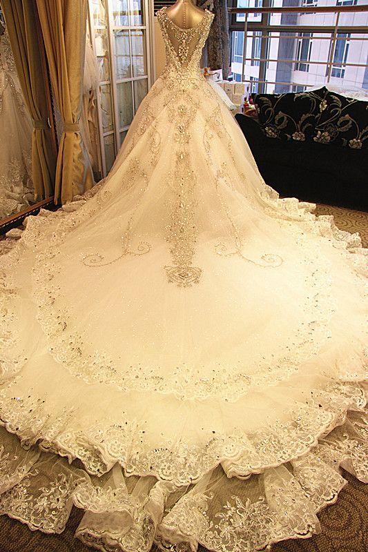 Junoesque A-line Bandage Crystal Ball Gown 1.5m Chapel Train Bride Wedding Dress