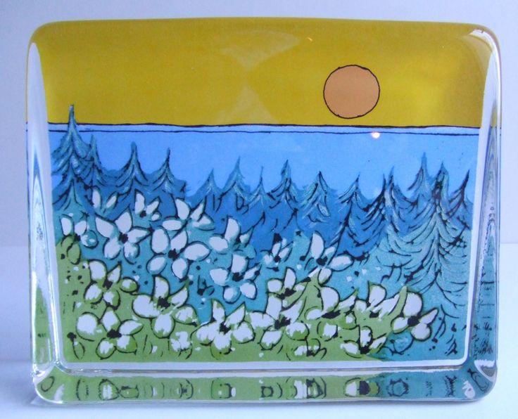 Vintage Iittala glass Finnish landscape  free standing paperweight card designed by Heljä Liukko-Sundström. by SCALDESIGN on Etsy
