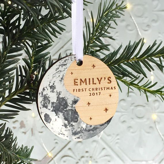 Baby S First Christmas Moon Tree Ornament Personalised Christmas Decoration Lunar Stars New Baby Man In The Moon Silver Wood Hygge Scandi Personalised Christmas Decorations Baby Christmas Gifts Unique Christmas Ornaments