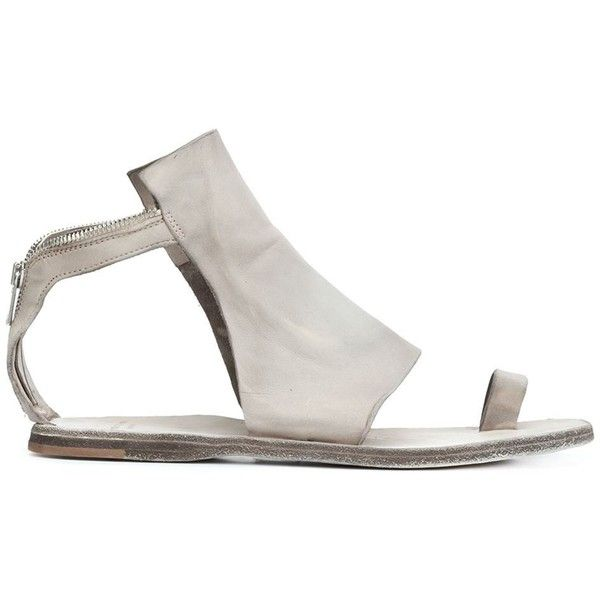 Officine Creative toe-ring sandals (£480) ❤ liked on Polyvore featuring shoes, sandals, grey, officine creative, grey sandals, toe-ring sandals, grey leather shoes and leather toe ring sandals