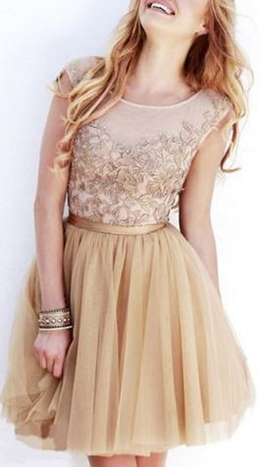 Gorgeous Lace! So Pretty! Elegant  Round Collar Flower Mesh Spliced Sleeveless Nude Beige Color Party Dress #Gorgeous #Floral #Lace #Nude #Beige #Party #Dress