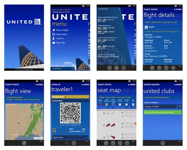 United Airlines Mobile App now reached for Windows Phone 8 devices