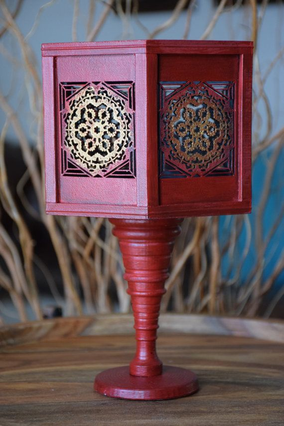 Decorative Vase Handmade Red and Gold by ThadamCreativeDesign