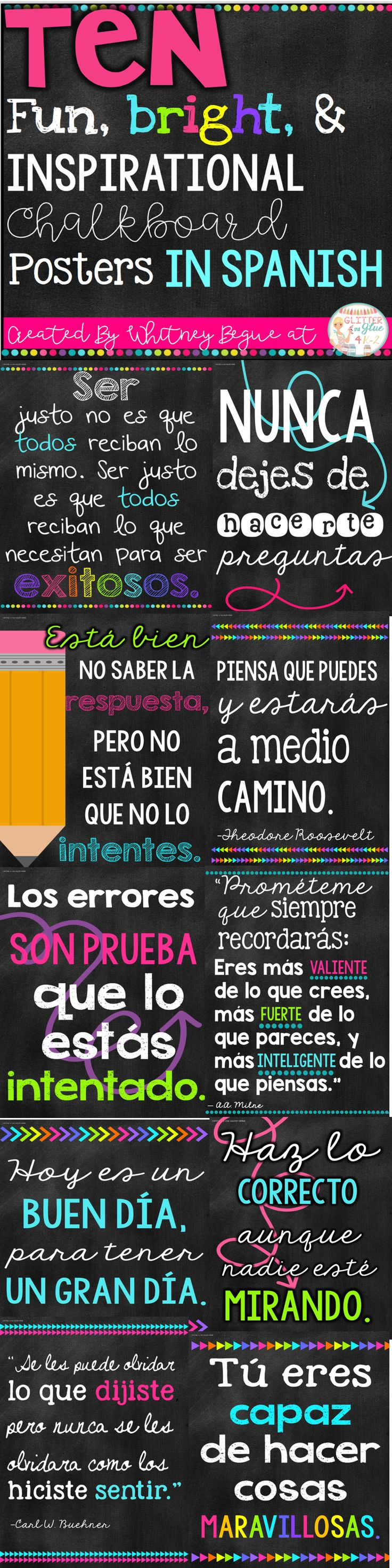 Looking for something fun, bright, and inspirational to brighten up your classroom? Included are ten of my favorite classroom quotes in Spanish.Keywords: Spanish teacher, ESL teacher, bilingual teacher, classroom décor, neon classroom, back to school, classroom, growth mindset