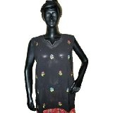 Tops for Womens- Black Tunic Floral Embroidered Georgette Kurti Size S (Apparel)  #Tank Top