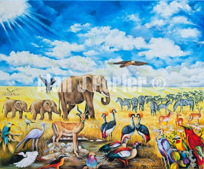 #alanjporterart #kompas #art #animals #wild #elephants #zebras #birds #africa #sky #nature #originaldesign #oil #sun