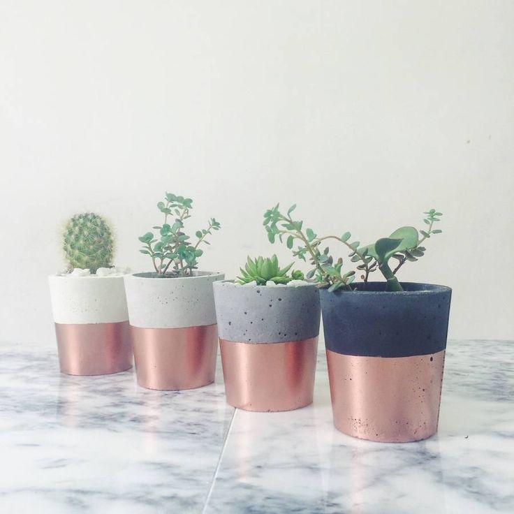 Copper Dipped Cement Pot £10 each