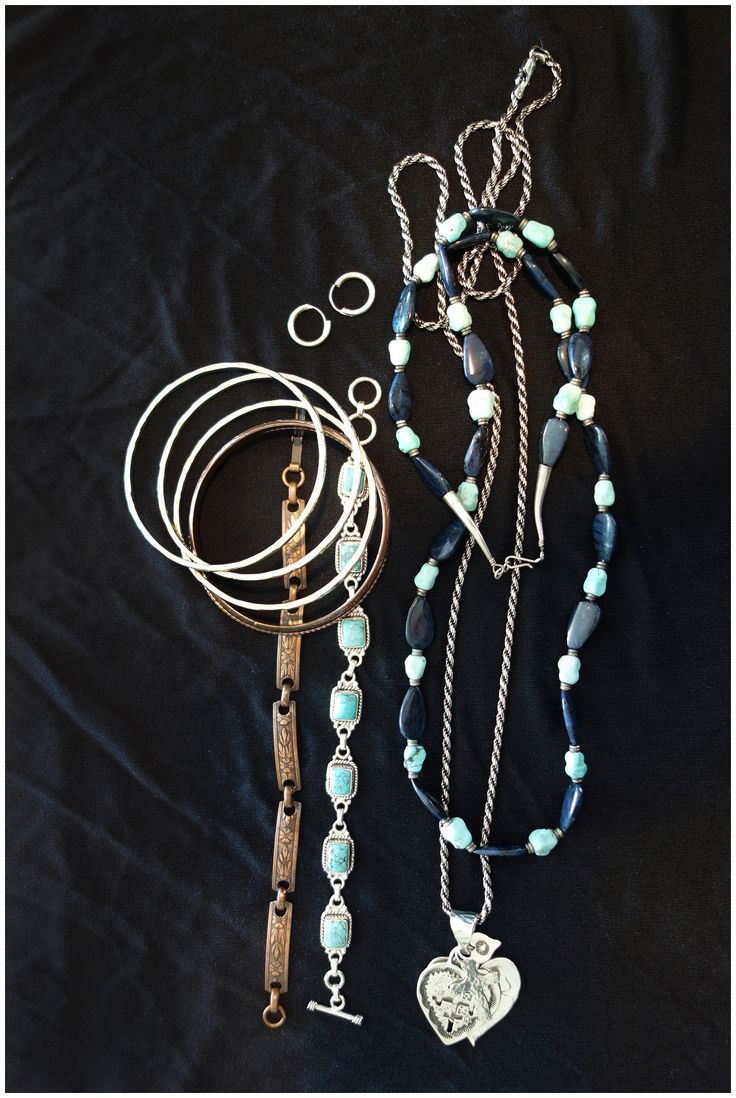 I bought the turquoise and lapis necklace and turquoise bracelet in Palm Springs. My dad brought me the silver bangles from Mexico in the 80's.The heart pendant came from Just Jewelry in 2011. The copper bracelet came from my mom's collection of great stuff found in thrift shops.