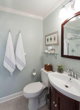 """Lake House beach-style-bathroom color is Farrow and Ball """"Skylight"""""""