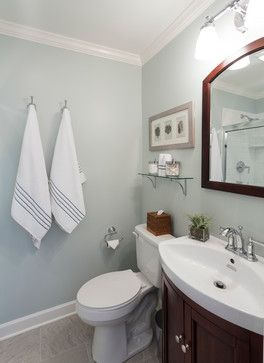 "Lake House beach-style-bathroom  color is Farrow and Ball ""Skylight"""