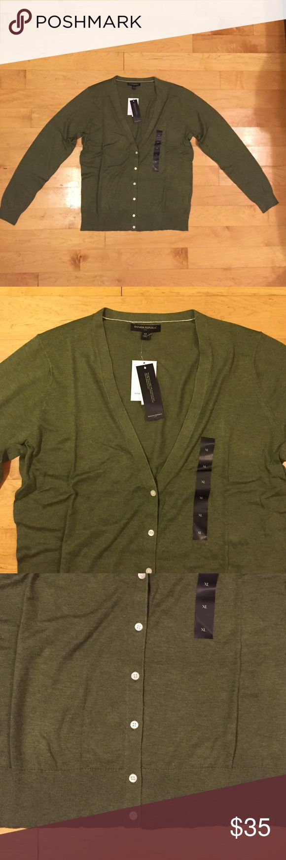 NWT Army Green V-Neck Cardigan NWT Army Green V-Neck Cardigan from Banana Republic. Very simple and would pair with any top in my closet! Fabric is 60% cotton and 40% rayon. Banana Republic Sweaters Cardigans