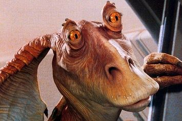 And Now For Jar Jar Binks Falling To His Death Over A Waterfall