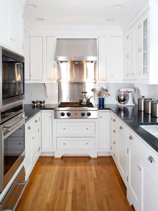 small kitchen design pictures remodel decor and ideas page 2 white cabinets black countertop - Small Apartment Kitchen Design 2