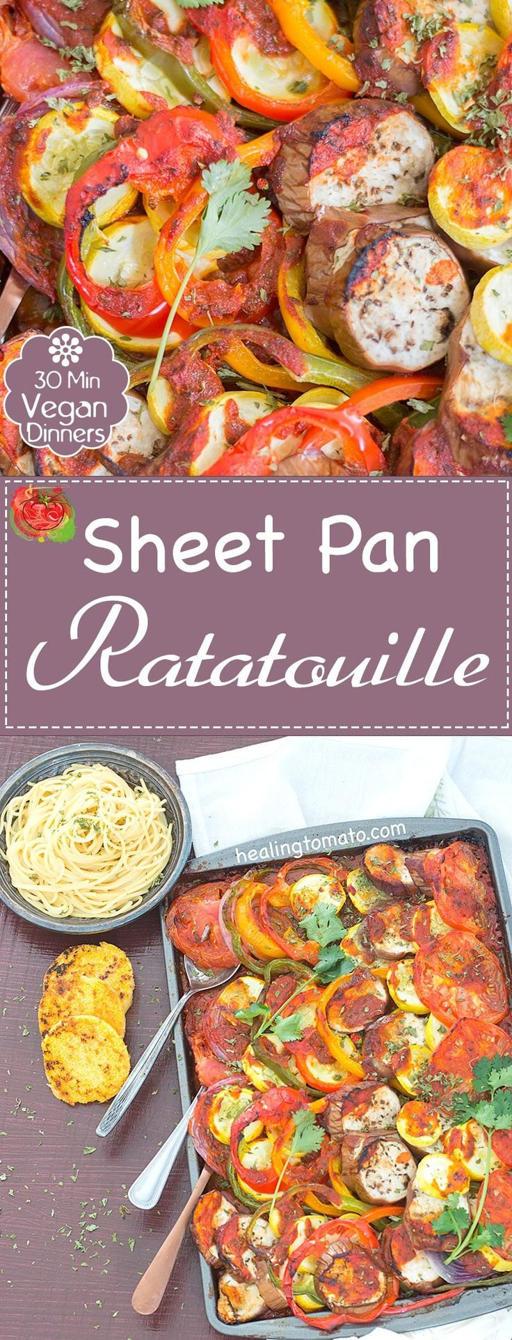 Quick Sheet Pan Ratatouille Dinner Recipe for the whole family to enjoy. Its a hearty and low calorie summer recipe made with garden fresh vegetables.