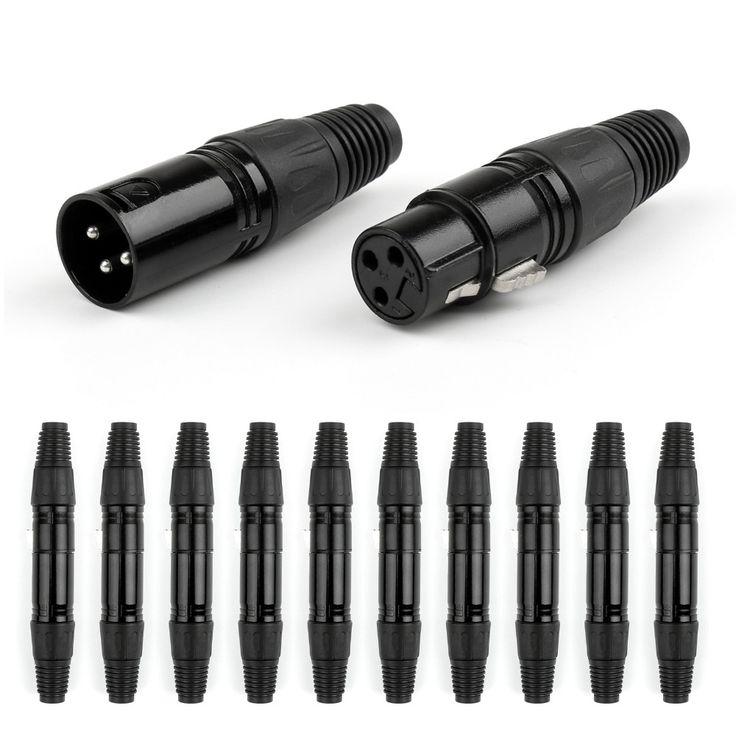 Hot Sale 10 Set Black 3 Pin XLR Audio Cable Connector MIC Plug+ Female Jack