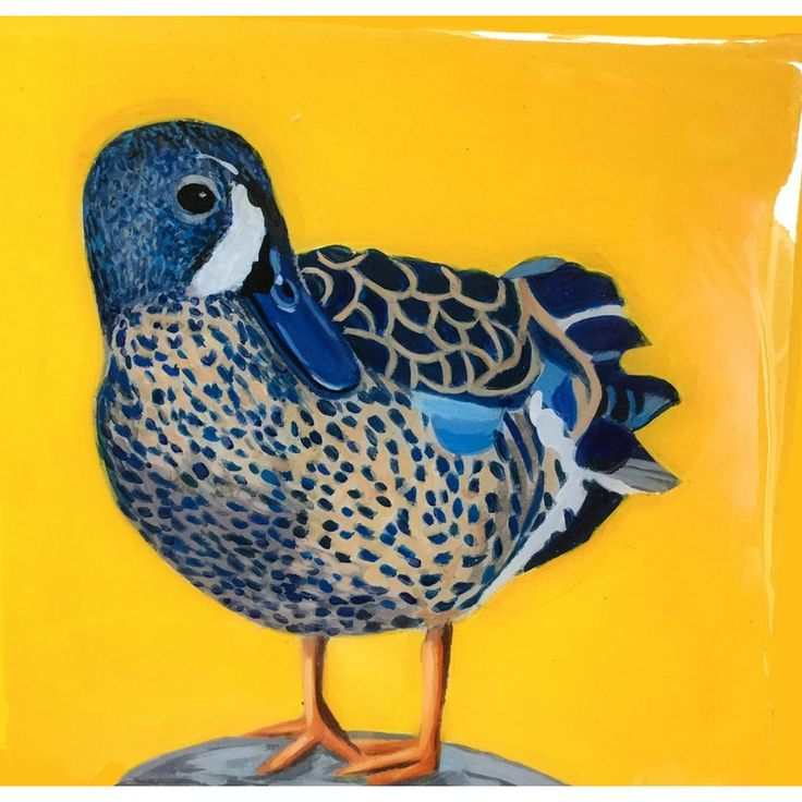 Painting of Blue winged Teal Acrylic on wood with resin finish Measures at 5 by 5 inches Shipping is included in the price Will be packaged with care Please Note The photo is of a resined painting hence the glare