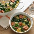 Sausage, Kale and Potato Soup.  My favorite version because it's simple and quick to make. You can also substitute crumbled sausage and add a little bit of shaved carrot or diced celery.: Food Recipes, Turkey Sausage, Quick Recipes, Chicken Soup Recipes, Kale Soups Recipes, Recipes Soups Stews Chilis, Drink Recipes, Kale Soup Recipes, Quick Soups Recipes