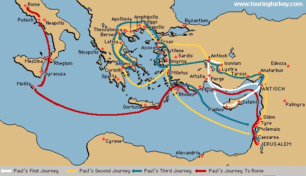 pauls three missionary journeys —missionary journeys and journey to rome our study of the places in the book of acts requires a supplemental summary of the journeys and periods of the apostle paul traditionally, paul is said to have made three missionary journeys, plus a fourth journey to rome.