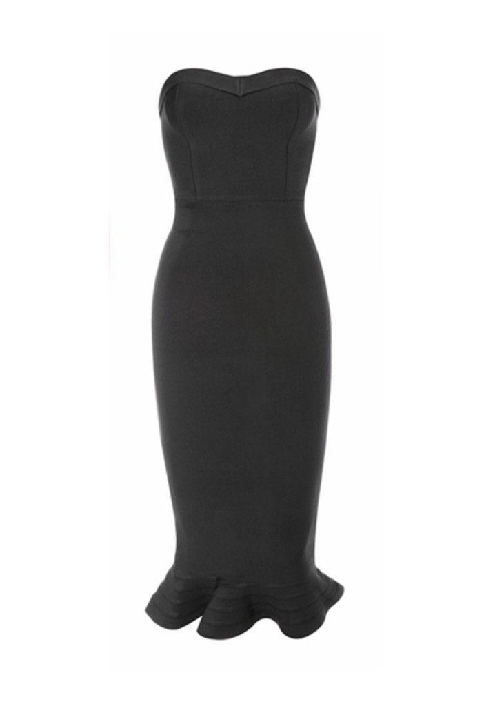 Kylie Black Fluted Hem Bandage Dress