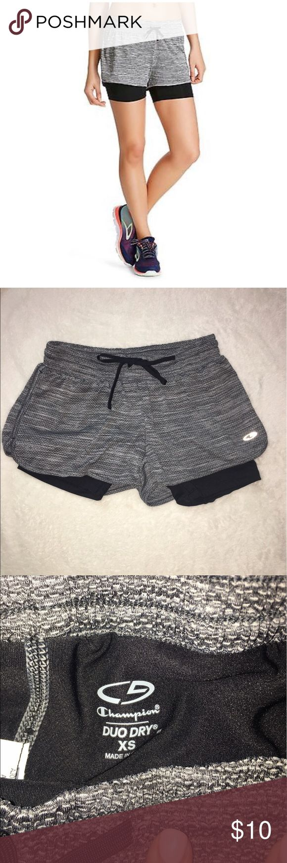 Layered Knit Gray Athletic Shorts New ✨ Duo-Dry C9 Champion Women's Layered Athletic Shorts. Provides active coverage with a supportive inner short that wicks to keep you dry and stays in place with a draw cord waist. New without tags, never been worn! **Brand Listed For Exposure** Under Armour Shorts