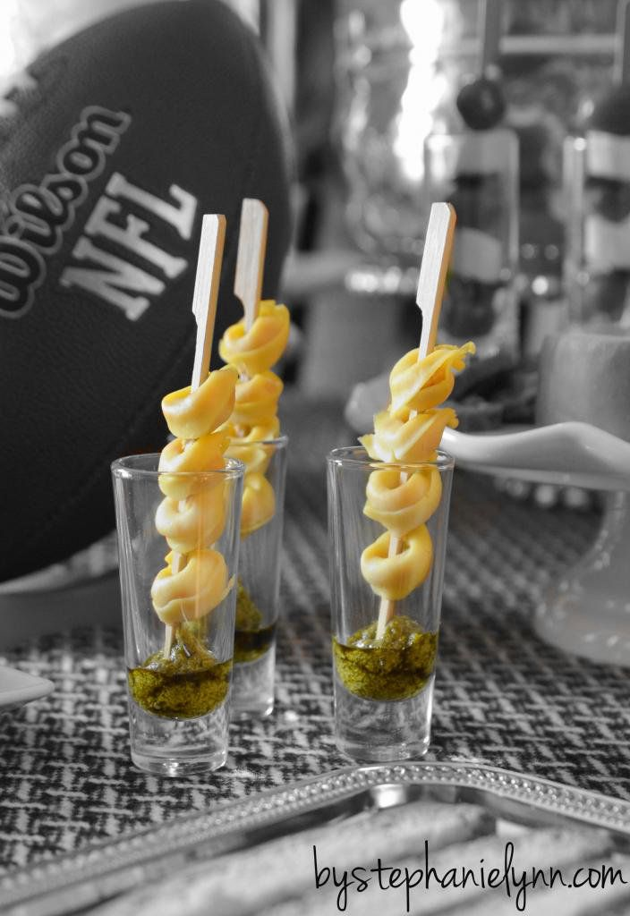 Pasta Bar Party - mini cheese tortellini {cooked and chilled} served on bamboo picks with basil pesto.