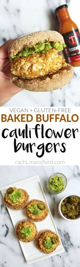 Baked Buffalo Cauliflower Burgers made with 10 healthy ingredients! Vegan-friendly and Gluten-free!