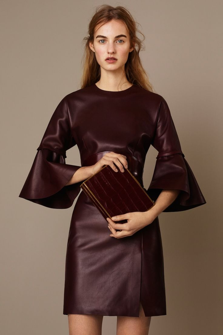marsala leather and dramatic sleeves - suhweet!  Alexander McQueen Pre-Fall 2015 Runway – Vogue