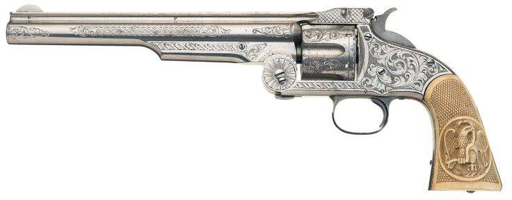Stunning Nimschke New York Engraved Smith & Wesson Model Three, First Model Russian Single Action Revolver with Hand Carved Grips and Factory Letter