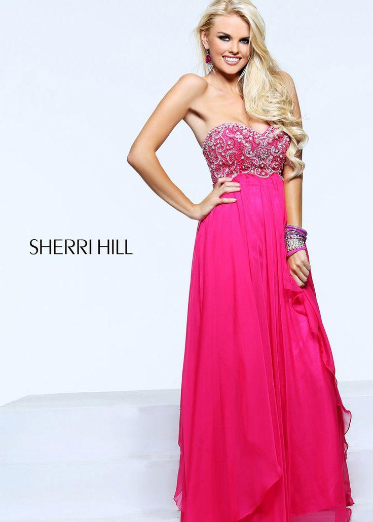 2014 Sherri Hill 3802 Strapless Fuchsia Beaded Long Dress - $186.00 : 2014 Prom Dresses Online Sale,Cheap Sherri Hill Dresses