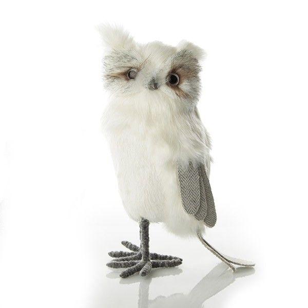 Large White Fluffy Owl Ornament