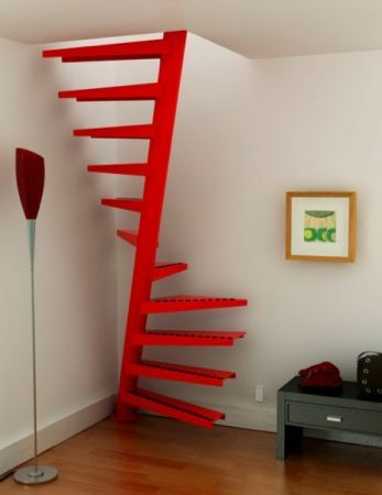 Space saving spiral stair. Would work well for a loft conversion.