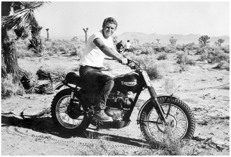 """Actor Steve McQueen and his Triumph desert bike in their native habitat.""  –Cycle World Magazine, June 1964"
