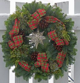 Texas Star Christmas wreath with plaid bow, made here in Oregon.