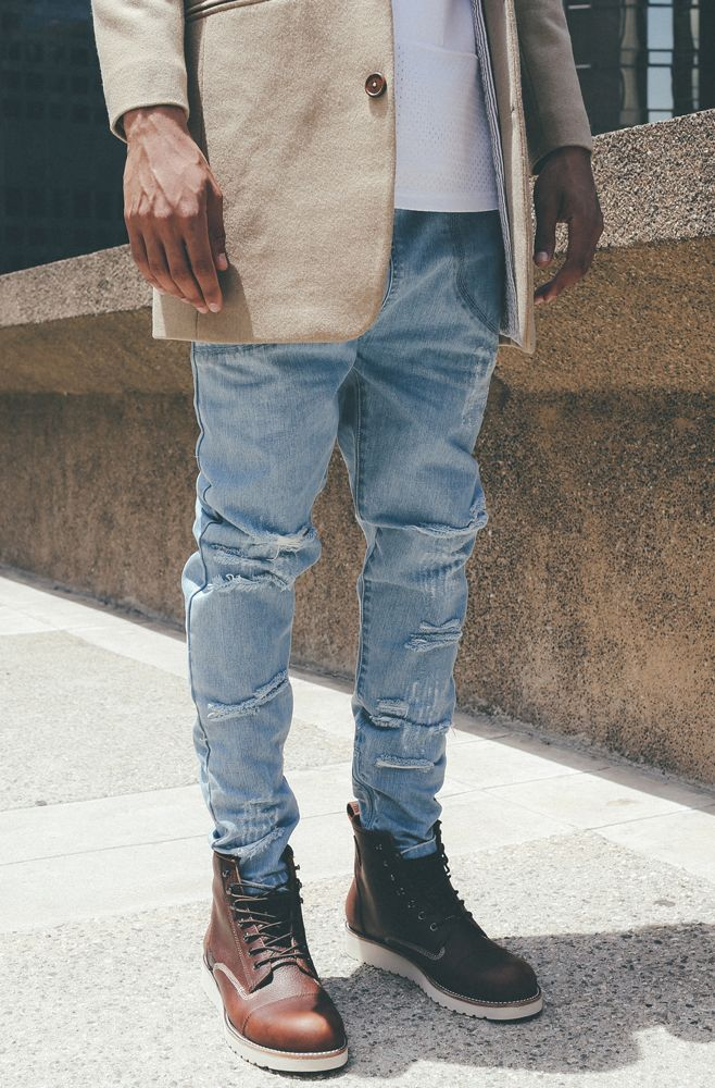 Khaki Trench, Distressed Jeans, and Brown Leather Boots, Men's Early Fall Winter Fashion.