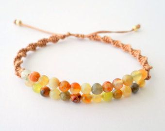 Beaded Macrame Bracelet with Semiprecious Stone Gold Metal Beads and Latte Thread