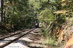 Texas State Railroad.  Rolls through the Piney Woods of East Texas, between Palestine and Rusk.: Texas State